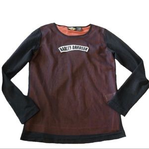 Harley Davidson mesh long sleeve blouse